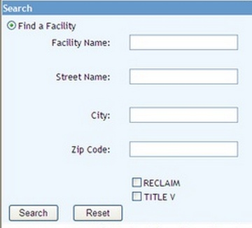 Facility Search Fields