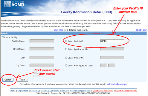 Instructions to Select Facility ID and Search