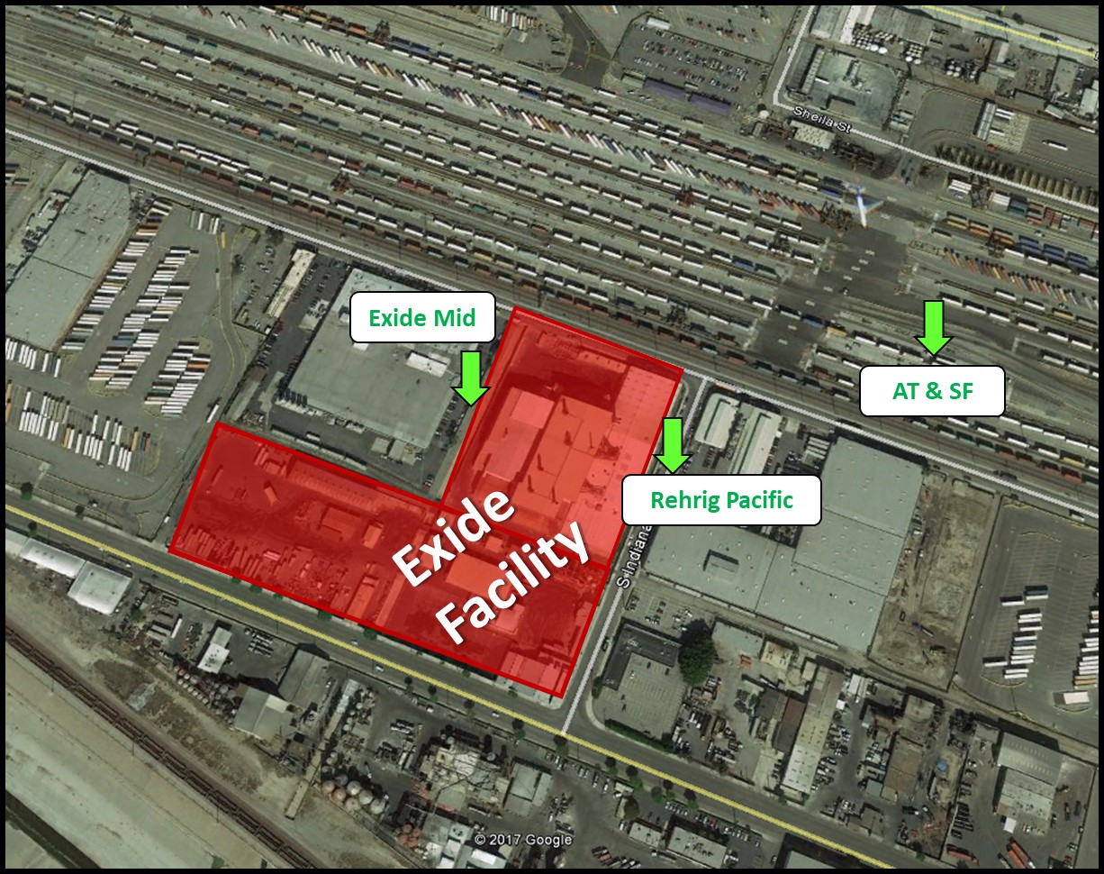 SCAQMD Air Monitoring Locations around Exide