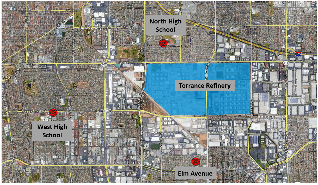 "Figure 1. Map showing the locations of the ""Torrance Air"" community air monitoring stations"